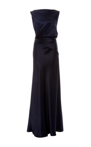 Medium zac posen navy silk charmeuse draped bodice gown