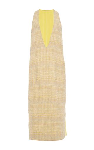 Medium prabal gurung yellow hand woven ribbon tweed v neck dress