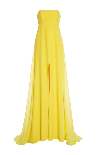Medium prabal gurung yellow strapless charmeuse gown