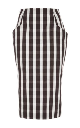 Medium brock white linen gingham sam skirt