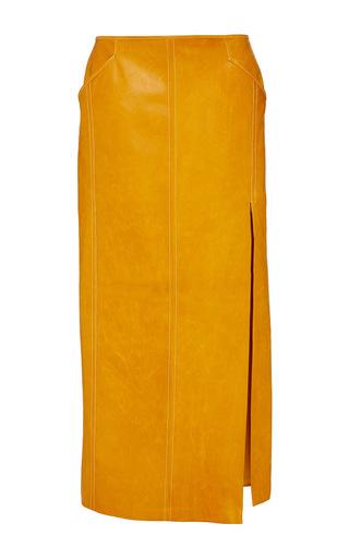 Medium wes gordon orange saddle leather pencil skirt