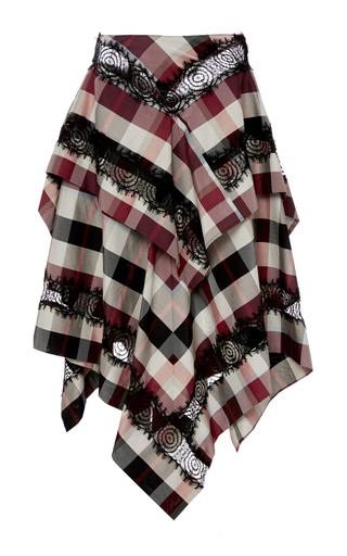 Medium wes gordon red plaid rosette lace handkerchief skirt