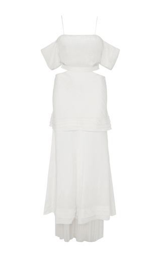 Medium wes gordon white chiffon and gauze long dress