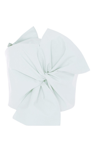 Medium delpozo green cotton poplin bow top