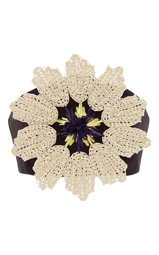 Medium delpozo black triple silk organza crop top with floral raffia applique