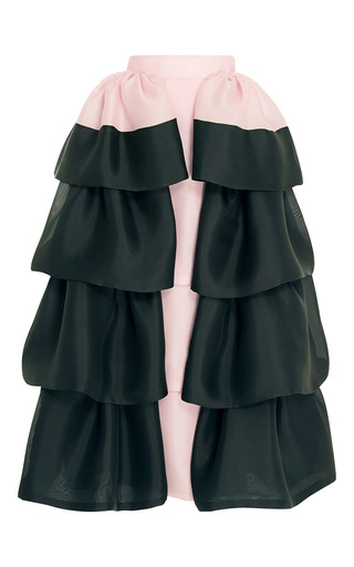 Medium delpozo light pink triple silk organza bi color frilled skirt