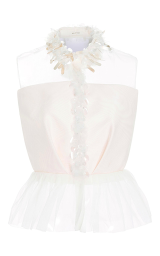 Medium delpozo white embroidered silk moire shirt