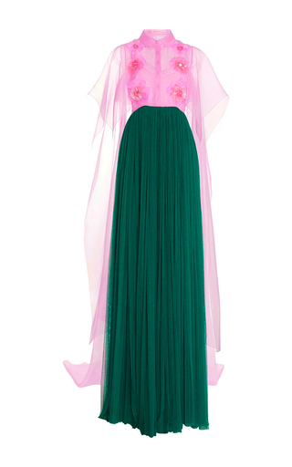 Medium delpozo green embroidered silk tulle long dress with feather embellishment