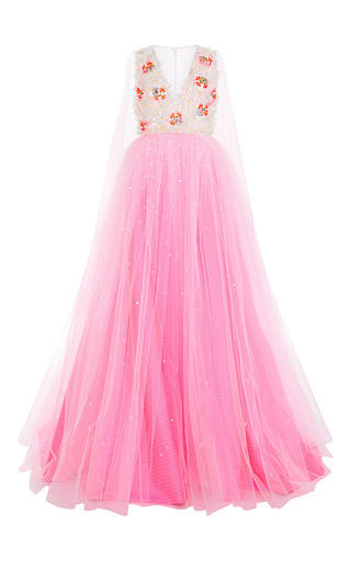 Medium delpozo pink fluorescent jacquard gown