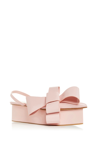 Medium delpozo light pink pale pink bow wedge shoe