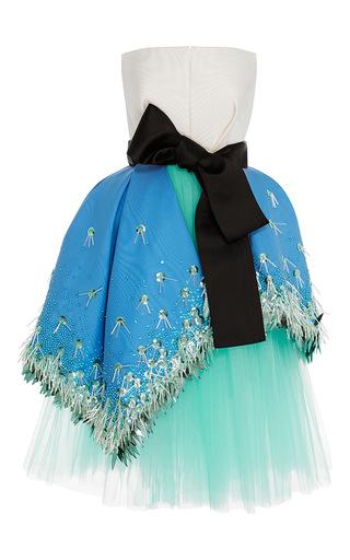 Medium delpozo blue silk moire overskirt dress