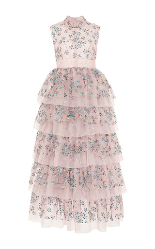 Medium delpozo pink embroidered frill dress