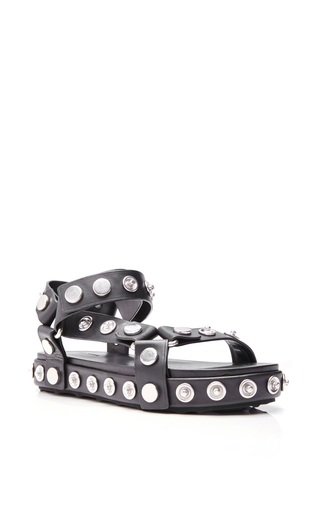 Medium alexander wang black embellished black calf leather aiden sandals