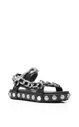 Medium alexander wang black chain embellished anny sandals