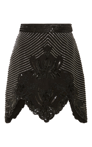 Medium rodarte black black and silver hand beaded a line skirt