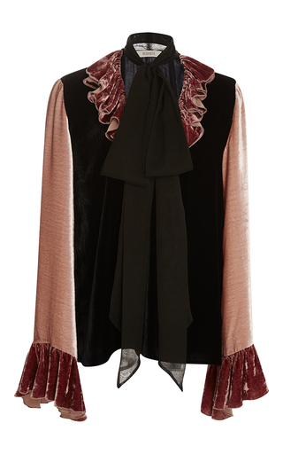 Medium rodarte pink silk velvet tie neck blouse with ruffle details