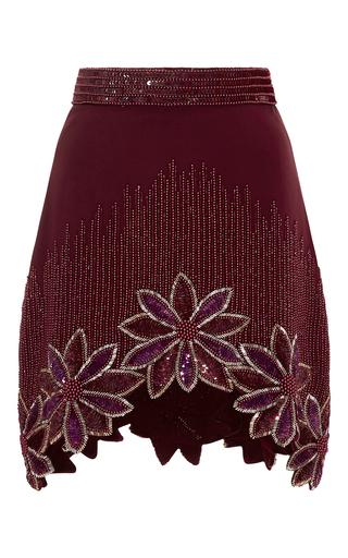 Burgundy Hand Beaded Floral A Line Skirt by RODARTE Now Available on Moda Operandi
