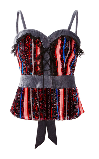 Striped Paisley Sweetheart Lace Up Top by RODARTE Now Available on Moda Operandi