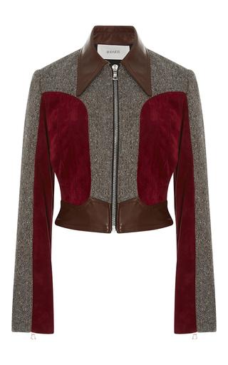 Medium rodarte brown burgundy leather suede and tweed cropped jacket
