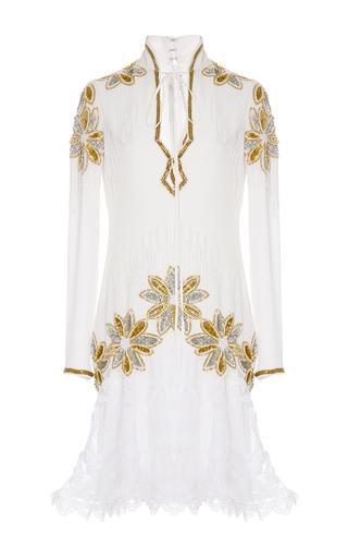 Medium rodarte white hand beaded floral lace dress