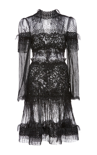 Medium rodarte black black hand beaded lace and fringe long sleeve dress