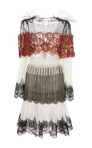 Medium rodarte white orange and gold hand beaded lace and fringe long sleeve dress