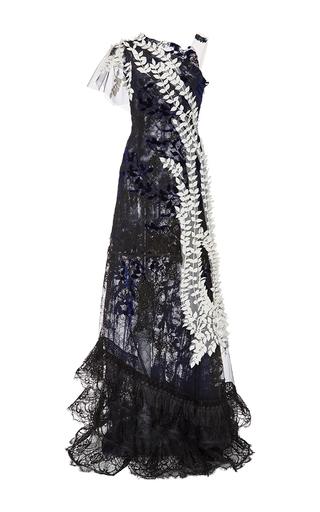 Medium rodarte navy silk velvet lace gown with draped silk leaves