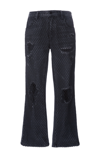 Medium alexander wang dark wash distress crop jeans with net