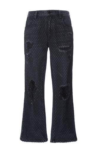 Medium alexander wang dark wash distress crop jeans with net