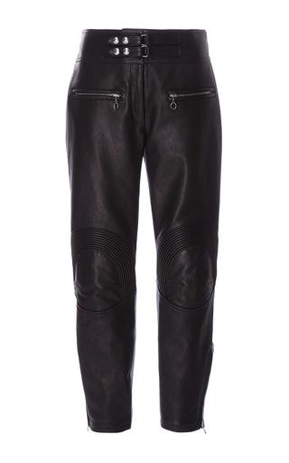 Medium alexander wang black leather and denim hybrid moto pant