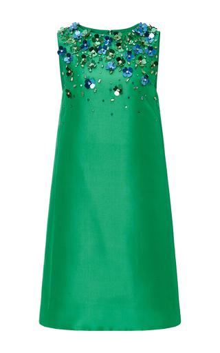 Medium monique lhuillier green silk gazar mini shift dress