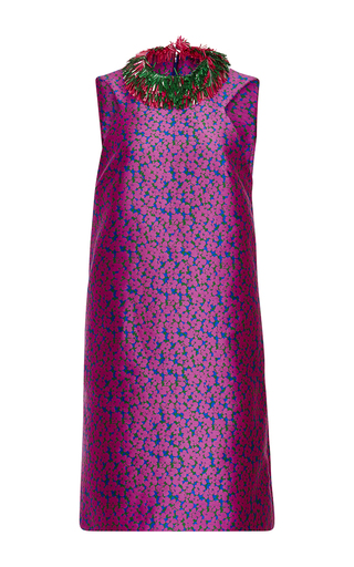 Medium monique lhuillier fuchsia floral jacquard fringe collar mini dress