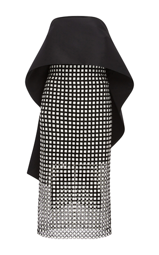 Medium monique lhuillier black geometric guipure lace peplum dress