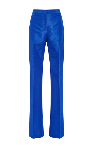 Medium monique lhuillier blue silk faille straight leg pant