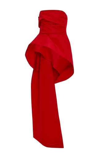Medium monique lhuillier red silk faille draped bodice
