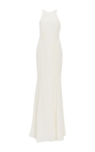Medium monique lhuillier white crepe halter gown