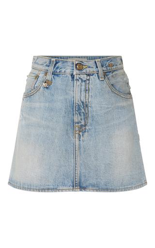 Medium r13 denim light wash lightly faded denim mini skirt