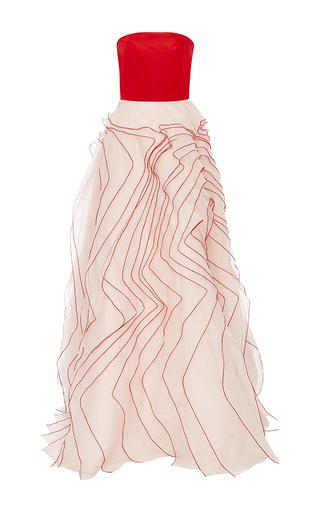 Medium monique lhuillier red silk organza ruffle gown