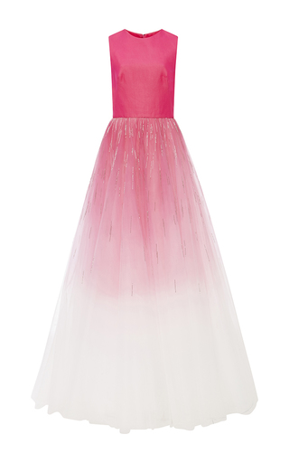 Medium monique lhuillier pink embroidered tulle a line gown