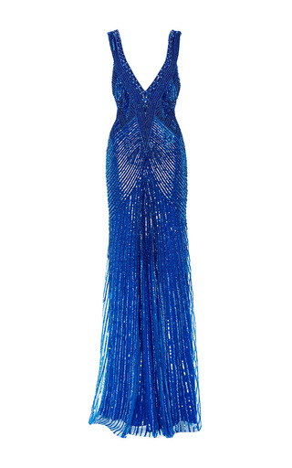 Medium monique lhuillier blue beaded embroidered v neck gown
