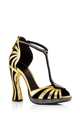 Medium rodarte black black embossed leather t strap sandal