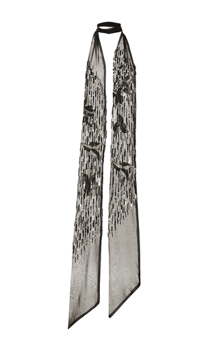 Medium rodarte black black and silver hand beaded chiffon scarf