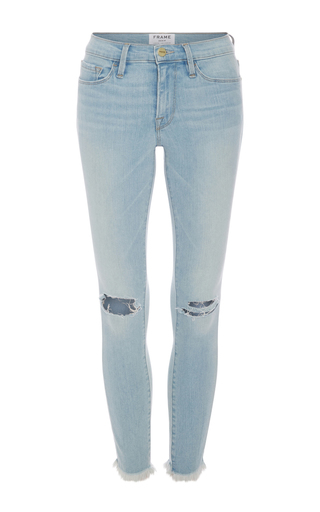 Medium frame denim light wash le skinny de jeanne cropped destroyed jeans