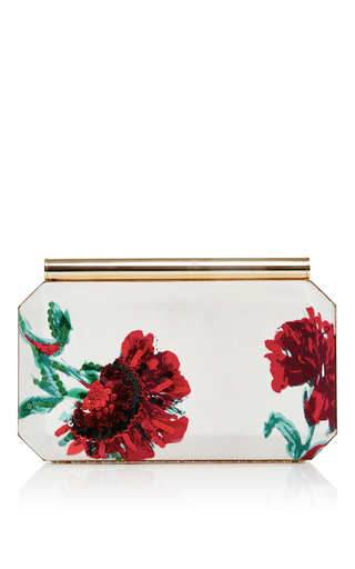 Medium oscar de la renta white satin beaded embroidered saya clutch