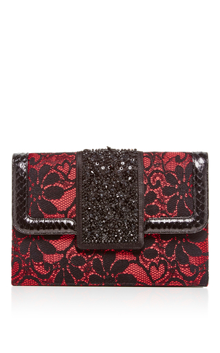 Medium oscar de la renta red satin and lace embellished evening clutch