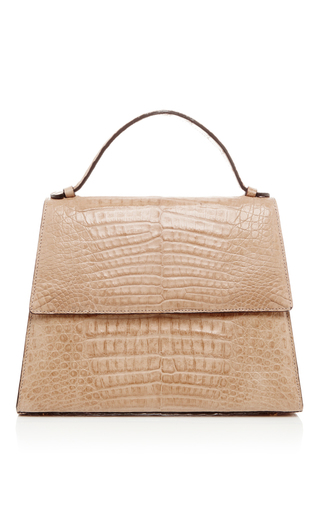 Medium hunting season tan crocodile leather top handle bag