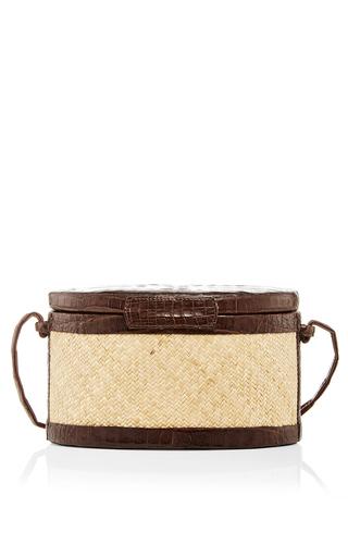 Small Crocodile And Straw Trunk Crossbody Bag by HUNTING SEASON Now Available on Moda Operandi