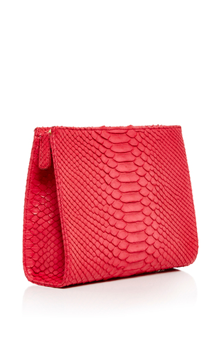 Red Python Zip Clutch by HUNTING SEASON Now Available on Moda Operandi