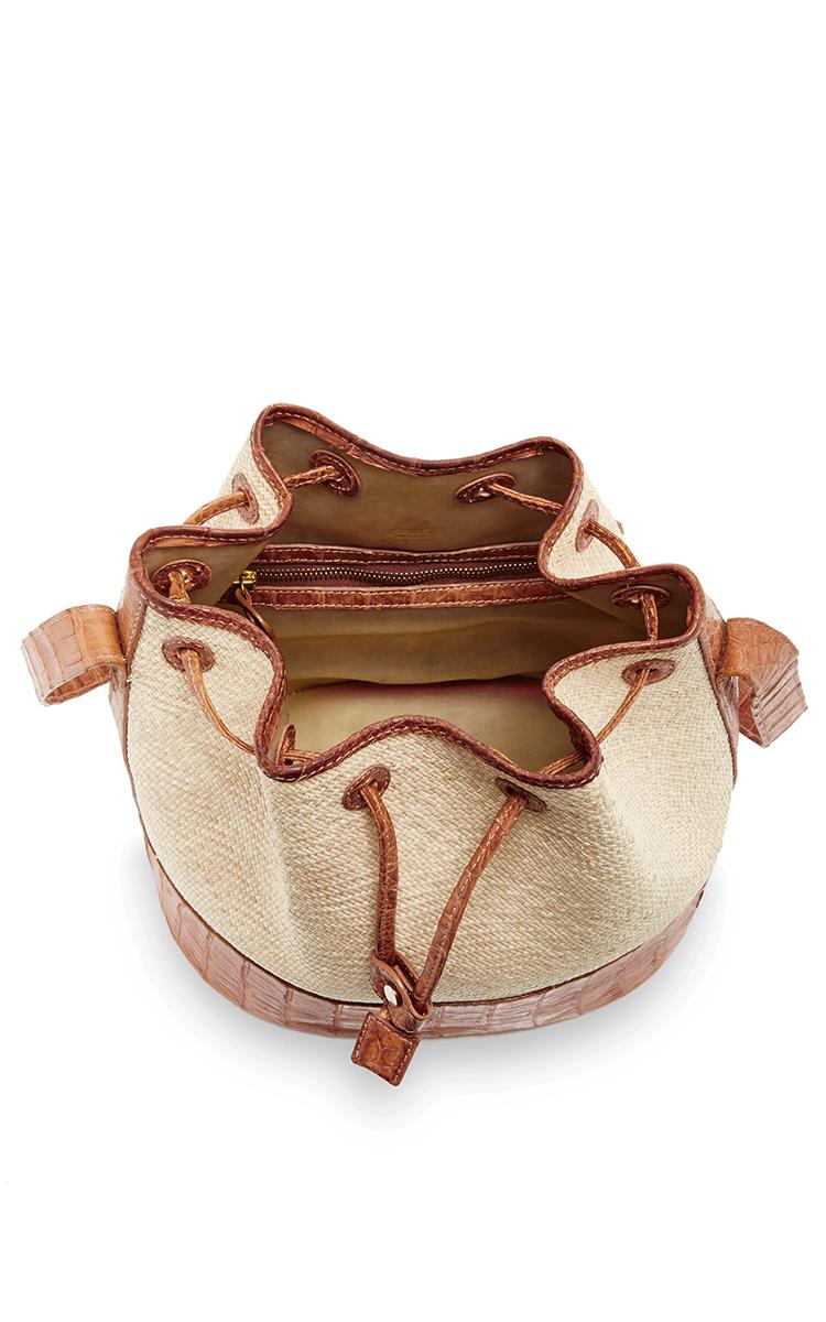 Crocodile and Straw Bucket Bag by Hunting Season