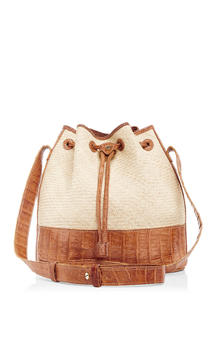 Medium hunting season tan crocodile and straw bucket bag